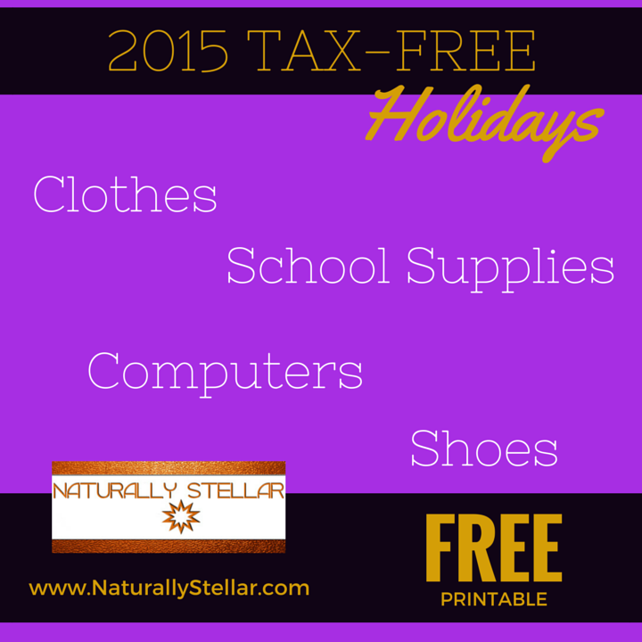Free Printable - Tax Free Holidays 2015