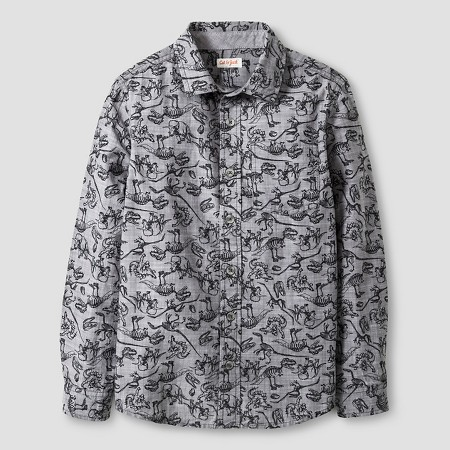 Boys' Dino Print Long Sleeve Button Down Shirt Cat & Jack™ - Gray
